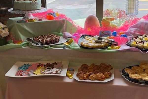 close up of cake from Easter food spread with various pastries