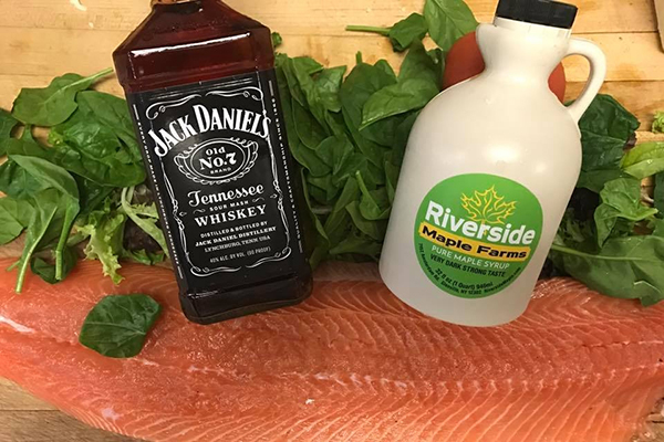 jack daniels, maple syrup and salmon