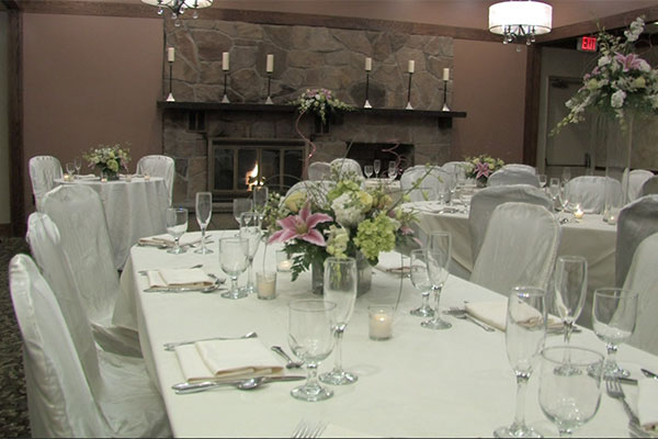 event space with set tables and chairs